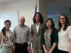From left to right: Mihaela Ion (SPE III), Joseph Trimble (Political Attache at the USA Embassy), Vlad Costea (SPE III), Ramona Ene (SPE III), and Anaelle Durand (Erasmus - France).
